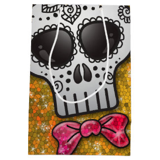 Day of the Dead Sugar Skull Golden Yellow Glitter Medium Gift Bag