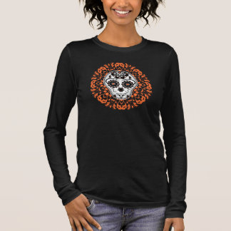 Day of the dead sugar skull in Halloween colors Long Sleeve T-Shirt