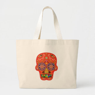 Day of the dead sugar skull large tote bag