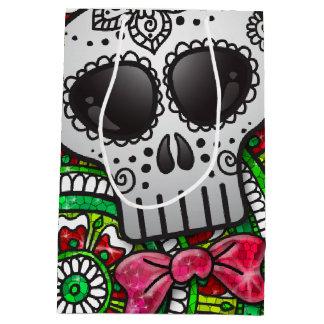 Day of the Dead Sugar Skull Mexican Flag Glitter Medium Gift Bag
