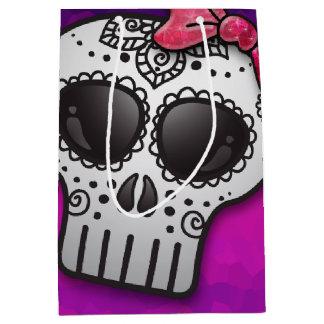 Day of the Dead Sugar Skull Ombre Hot Pink Glitter Medium Gift Bag