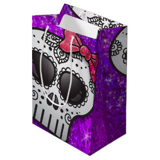 Day of the Dead Sugar Skull Ombre Purple Glitter Medium Gift Bag