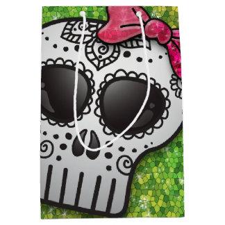 Day of the Dead Sugar Skull Peridot Green Glitter Medium Gift Bag