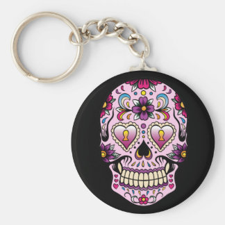 Day of the Dead Sugar Skull Pink Keychain