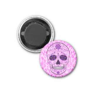 Day of the Dead Sugar Skull - Pink & Purple 3 Cm Round Magnet