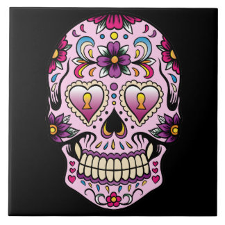 Day of the Dead Sugar Skull Pink Tile