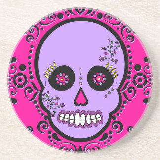 Day of the Dead Sugar Skull - Purple and Pink Coaster