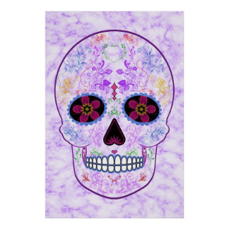 Day of the Dead Sugar Skull - Purple & Multi Color Poster