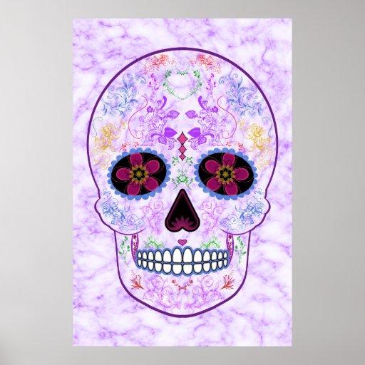 Day of the Dead Sugar Skull - Purple & Multi Color Print