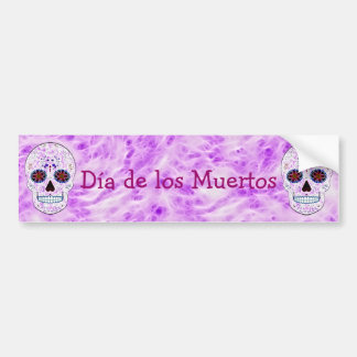 Day of the Dead Sugar Skull-Purple & Multi Fractal Bumper Sticker