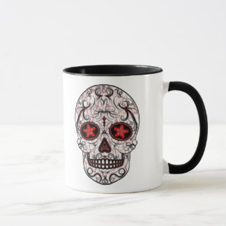 Day of the Dead Sugar Skull - Red & Black Fractal