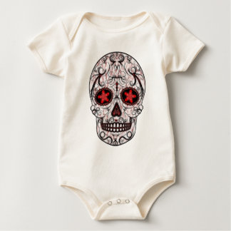 Day of the Dead Sugar Skull - Red & Black Fractal Baby Bodysuit