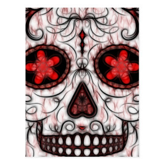 Day of the Dead Sugar Skull - Red & Black Fractal Postcard