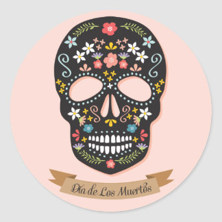 Day of the Dead Sugar Skull stickers, black-pink