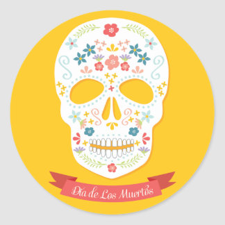 Day of the Dead Sugar Skull stickers, yellow