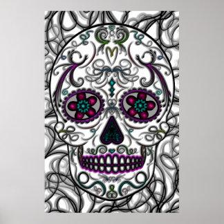 Day of the Dead Sugar Skull - Swirly Multi Color Poster