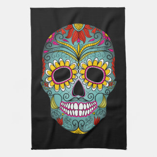 Day of the Dead Sugar Skull Tea Towel