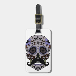 Day of the Dead Sugar Skull w/Mustache Luggage Tag