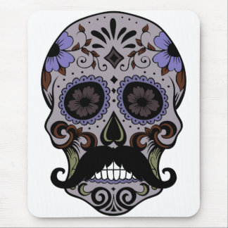 Day of the Dead Sugar Skull w/Mustache Mouse Mat
