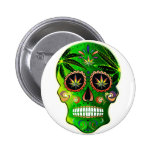 Day of the Dead Sugar Skull weed Shirt 6 Cm Round Badge