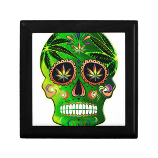 Day of the Dead Sugar Skull weed Shirt Small Square Gift Box