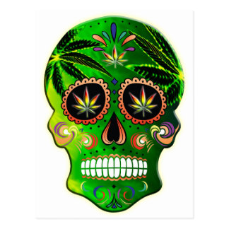 Day of the Dead Sugar Skull weed Shirt Postcard
