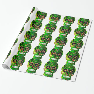 Day of the Dead Sugar Skull weed Shirt Wrapping Paper