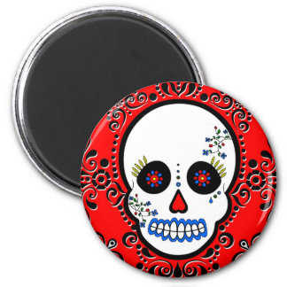 Day of the Dead Sugar Skull - White and Red 6 Cm Round Magnet