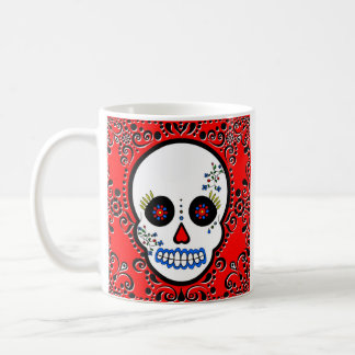 Day of the Dead Sugar Skull - White and Red Mugs