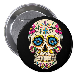 Day of the Dead Sugar Skull with Cross Button