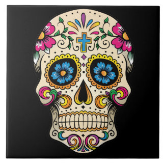Day of the Dead Sugar Skull with Cross Large Square Tile