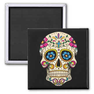 Day of the Dead Sugar Skull with Cross Magnet