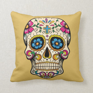 Day of the Dead Sugar Skull with Cross Pillow Throw Cushion