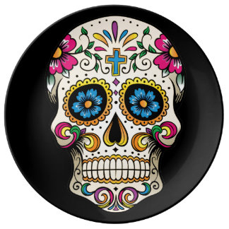 Day of the Dead Sugar Skull with Cross Porcelain Plates