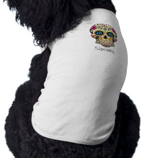 Day of the Dead Sugar Skull with Cross Sleeveless Dog Shirt