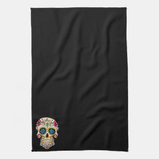 Day of the Dead Sugar Skull with Cross Tea Towel