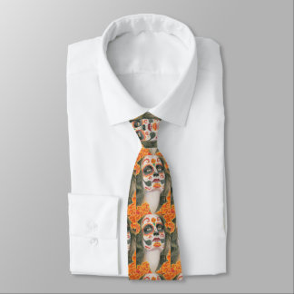 Day of the Dead Sugar Skull with Marigolds Tie