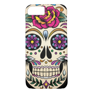 Day of the Dead Sugar Skull with Rose iPhone 7 Case