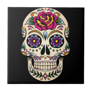 Day of the Dead Sugar Skull with Rose Small Square Tile