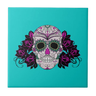 Day of the Dead Sugar Skull with Roses Small Square Tile