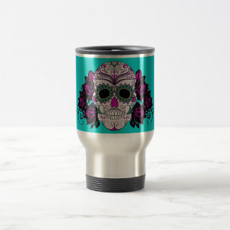 Day of the Dead Sugar Skull with Roses Stainless Steel Travel Mug