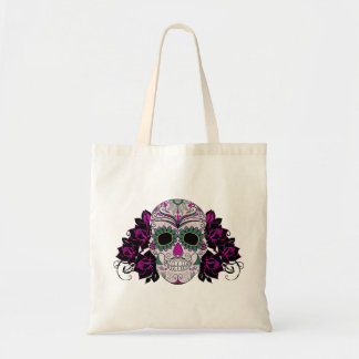Day of the Dead Sugar Skull with Roses Tote Bag
