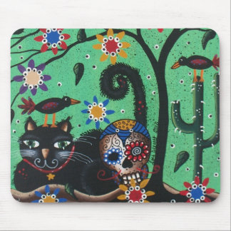 Day Of The Dead, Sugar Skulls, Black Cat, By Lori Mouse Mat