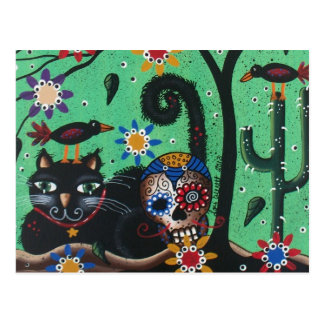Day Of The Dead, Sugar Skulls, Black Cat, By Lori Postcard