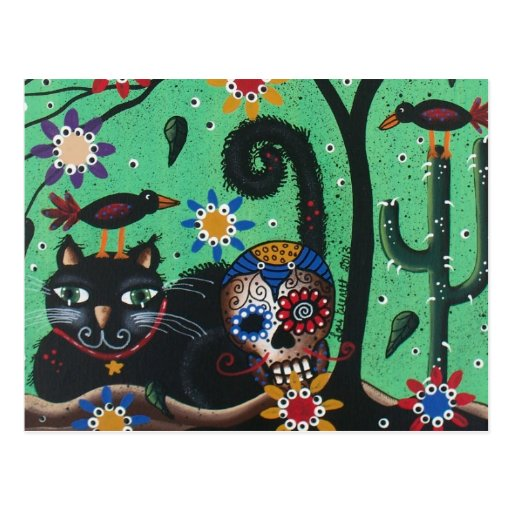 Day Of The Dead, Sugar Skulls, Black Cat, By Lori Post Cards