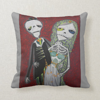 Day Of The Dead Wedding Couple American MoJo Pillo Cushion