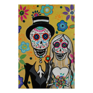 Day of the Dead Wedding Couple Poster