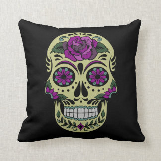 Day of the Dead with Purple Rose Cushion