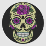 Day of the Dead with Purple Rose Round Sticker