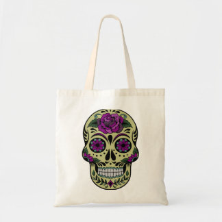 Day of the Dead with Purple Rose Tote Bag